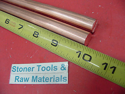 """2 Pieces 1/2"""" C110 COPPER ROUND ROD 10"""" long H04 Solid CU New Lathe Bar Stock"""