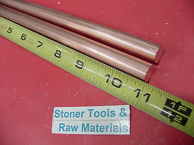 """2 Pieces 1/2"""" C110 COPPER ROUND ROD 11"""" long H04 Solid CU New Lathe Bar Stock"""