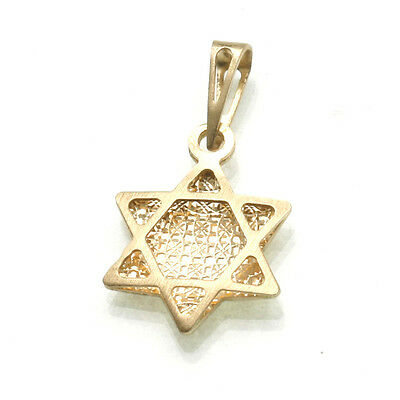 Estate 14k yellow gold Jewish Star of David double sided sparkly Italy Vintage