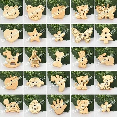 50/100 Cute Wood Wooden Buttons Beads Scrapbook Craft Sewing Embellishments