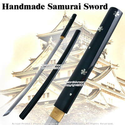 Handmade Japanese Shirasaya Samurai Katana Sword Sharp Black Lacquer Finish