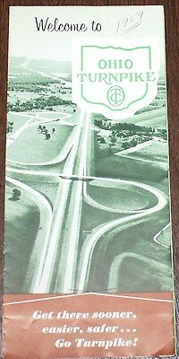 1958 Ohio Turnpike Brochure Map Fares Magic Carpet Highway Interstate