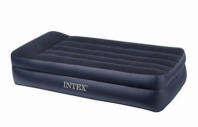 Intex Twin Rest Raised Air Mattress with Built In Pillow and Electric Pump, Gray