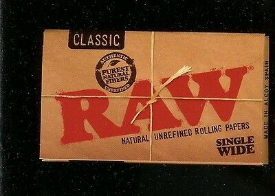 2 PACKS RAW CLASSIC SINGLE WIDE SIZE Natural Unrefined Cigarette Rolling Papers