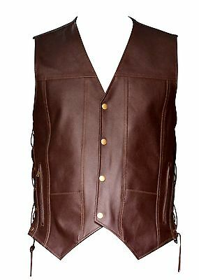 Mens Brown Leather Motorcycle 10 Pockets Side Laces Biker Vest New All Sizes