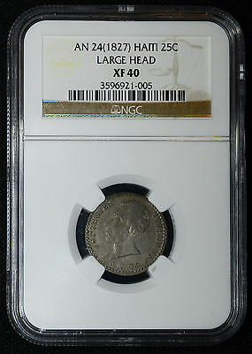 Haiti 25 Centimes AN 24(1827) EF40 NGC silver KM#18.2 25C Very Rare 1 Year Type.