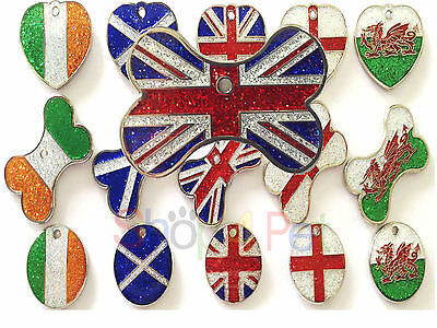 Pet ID Tags GLITTER Country Flag Design Dog or Cat Pet Tag with ENGRAVING OPTION
