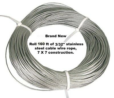 """3/32"""" X 160 Feet 7X7 Construction Stainless Steel Cable Wire Rope. FREE SHIPPING"""