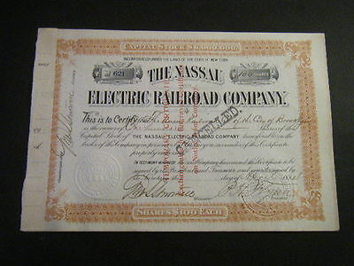 Naussau Electric Railway 1894 issued to Union Railroad Co. of City of Brooklyn