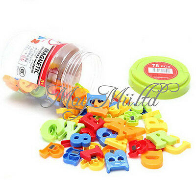 78Pcs Magnetic Capital & Lowercase Alphabet Letters Numbers Toy W / Jar New