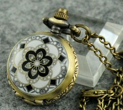 Retro Bronze Enamel Flower Quartz Pocket Watch Steampunk Necklace Pendant #Z