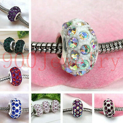 5pc Crystal European Beads Rhinestone Resin Big Hole Charm For Bracelet