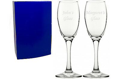 Personalised Pair of Glass Champagne Flutes, Engraved Wedding Gift or Favours