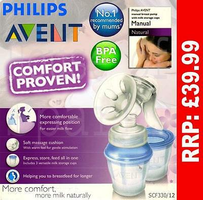 Philips Avent Natural COMFORT Manual Breast Pump +Milk Storage Cup Kit SCF330/12