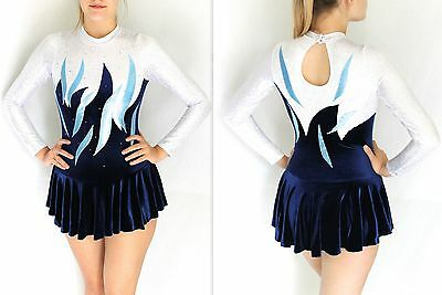 ALL SIZES Nevada Navy Velour/Hologram Skating Dress/Cheerleading/Twirling/Tap