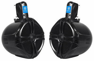 "Pair Rockville RWB80B 8"" Black 2 Way 600 Watt Marine Wakeboard Tower Speakers"