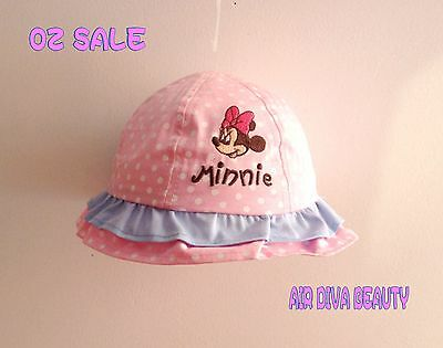 Girls Baby Kids Children Cute Pink Minnie Mouse 100% Cotton Bucket Cap Sun Hat