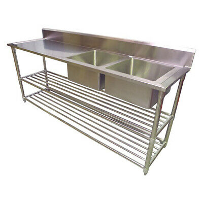 2200 x 600mm COMMERCIAL DOUBLE BOWL RIGHT KITCHEN SINK S/STEEL 2XUNDERSHELVES