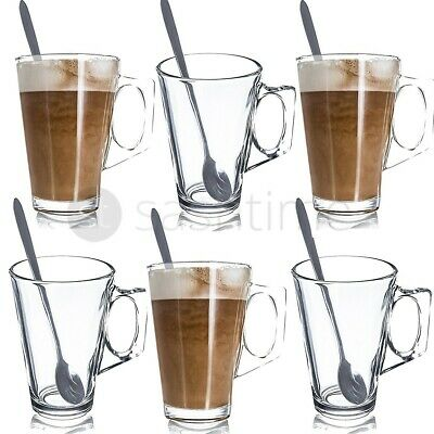 Set Of 6 Latte Glasses Tea Coffee Cappuccino Glass Cups Hot Drink Mugs Brand New