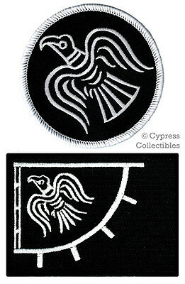 120a1c8c85179d LOT of 2 ODIN RAVEN BANNER FLAG PATCH iron-on VIKING EMBLEM embroidered  BLACK