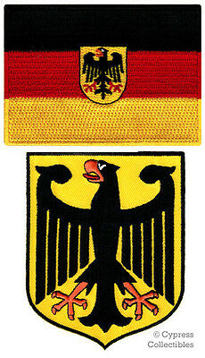 LOT of 2 GERMAN FLAG PATCH EAGLE EMBROIDERED IRON-ON GERMANY COAT ARMS SHIELD