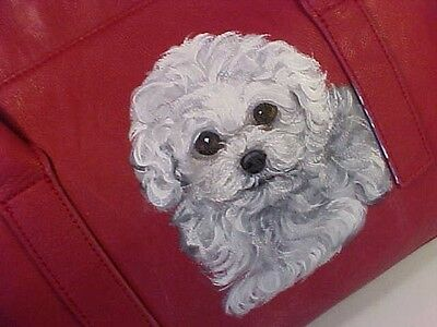 New Listing! Bichon Frise Puppy Handpainted Handbag