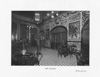 BOXING - THE NATIONAL SPORTING CLUB The Saloon - Antique Photographic Print 1901