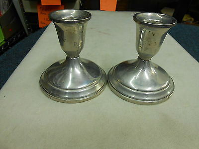 "Beautiful Pair Of Towle Sterling Silver Weighted Candle Holders 3 1/4"" Tall"