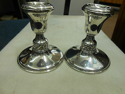 "Elegant Pair Of Sterling Silver Weighted Candle Holders 4"" Tall"