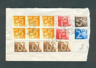 32.47Pounds Great Britian 2nd Decimal Postage Dues on Piece, incl 6-5Pounders