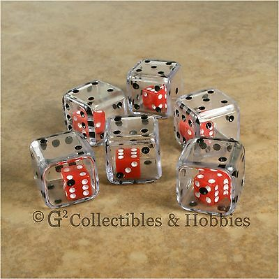 NEW Set of 6 CLEAR Double Six Sided 19mm Dice Game RPG Math D6
