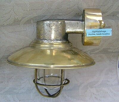 Vintage Cast Brass Nautical Wall Sconce w/ Brass Deflector Cover & Junction Box