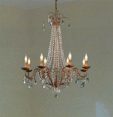 8 LIGHT ELEGANT COPPERISH COLOR IRON CHANDELIER WITH CRYSTAL KITCHEN DINING ROOM