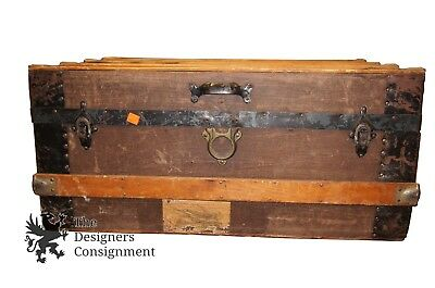 Shorty Antique Steamer Trunk Travelers Chest Leather Handled Stage Coach Boat