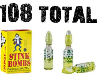 108 Stinky Smelly Stink Bombs - Glass Vials - gag prank joke - wholesale lot