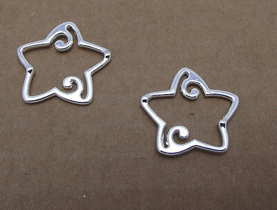 2 BEAD FRAMES silver-plated pewter 26x25mm SWIRLED STAR