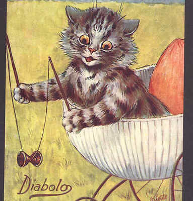 Louis Wain Kitten,cat Plays Diabolo Game From Baby Buggy,1909 Vintage Postcard
