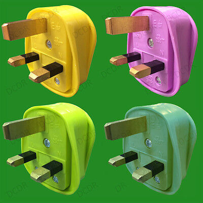 Coloured 13A UK 3 Pin Mains Plug, 13 Amp, BS1363, BSI Approved,