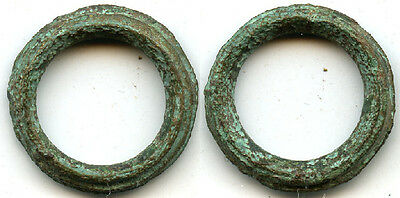 Authentic bronze ribbed Ancient Celtic ring money, 800-500 BC, Danube Area