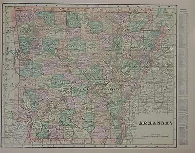1900 Arkansas Antique Color Atlas Map**  Indexed with Population .119 Yrs-Old!