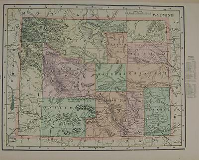 1900 Wyoming Antique Color Atlas Map**  Indexed w/ Population . .114 Years-Old!