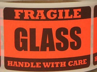 FRAGILE GLASS  HANDLE WITH CARE 2x3 fluorescent red Stickers Labels 250/rl