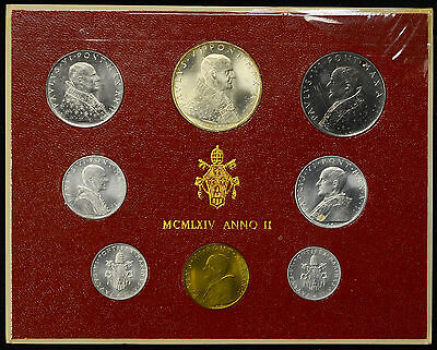 Vatican City 1964 KM#MS68 Pope Paul VI Mint Set 1 2 5 10 20 50 100 500 Lire.
