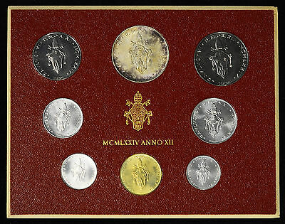 Vatican City 1974 KM#MS78 Pope Paul VI Mint Set 1 2 5 10 20 50 100 500 Lire.
