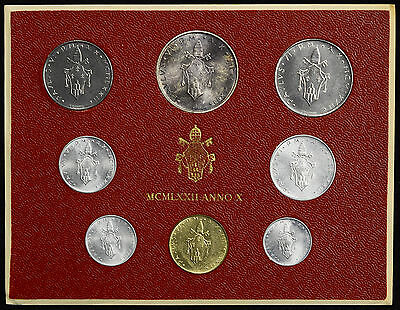 Vatican City 1972 KM#MS76 Pope Paul VI Mint Set 1 2 5 10 20 50 100 500 Lire.