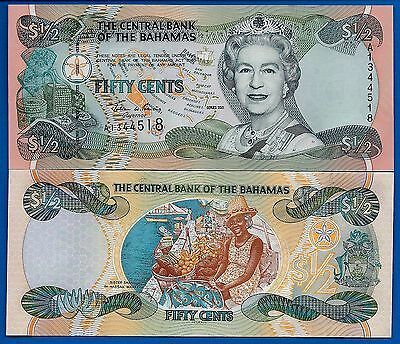 Bahamas P-68 One Half Dollar 2001 Queen Elizabeth II Uncirculated