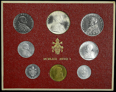 Vatican City 1963 KM#MS66 Pope Paul VI Mint Set 1 2 5 10 20 50 100 500 Lire.