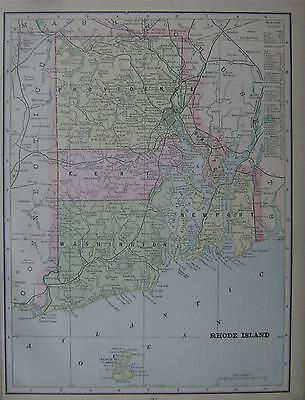 1900 Rhode Island Antique Color Atlas Map** Indexed with Population 114 Yrs-Old!