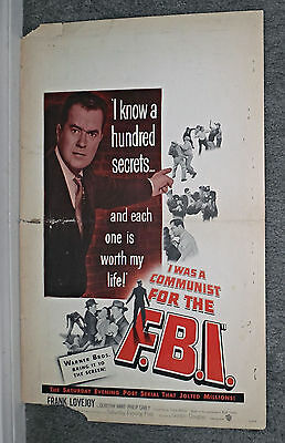 I WAS A COMMUNIST FOR THE F.B.I. original 1951 movie poster FRANK LOVEJOY