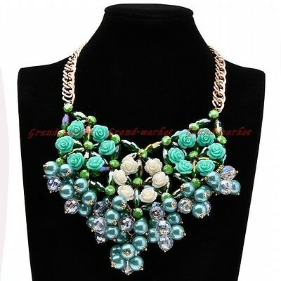 Fashion Gold Chain Green White Crystal Pearl Resin Flower Statement Bib Necklace